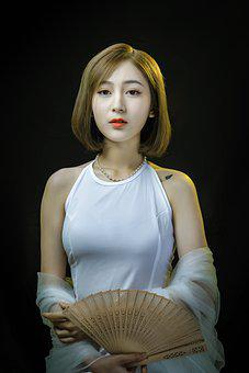 Woman, Model, Portrait, Pose, Hand Fan, Style, Fashion