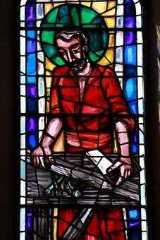 Saint Joseph, Stain Glass, Religion, Faith, Colourful