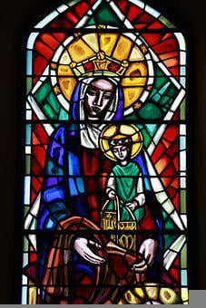 Mother Mary And Jesus, Stain Glass, Religion, Faith