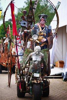 Statue, Sculpture, Car, Character, Parade, Mobile, Art