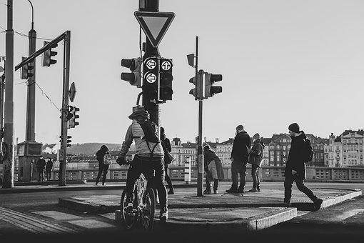Street, People, Traffic Light, Waiting, Bike, Bicycle