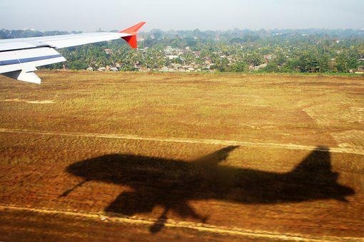 Aircraft, Shadow, Field, Landing, Undress, Start
