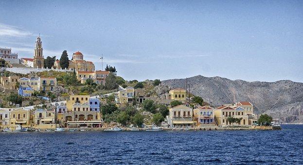 Symi, Greece, Landscape, Bay, Harbor, Water, Shoreline