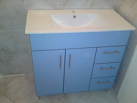 Bathroom, Cabinet, Sink, Faucet, Washroom, Water
