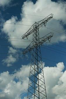 High Voltage Mast, Air, Wires, Blue Sky, Cables, Flow