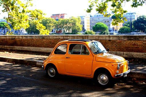 Fiat500, Oldtimer, Vehicles, Nostalgia, Orange, Classic