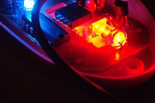 Electronics, Blue, Red, Light, Led, Technology