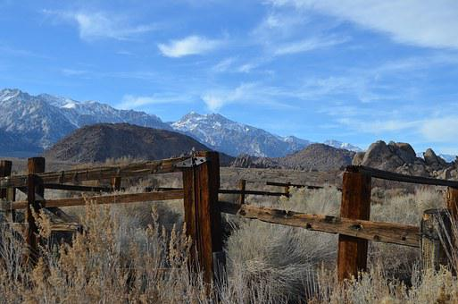 Fence, Lone Pine, Western, Mountains, Nature