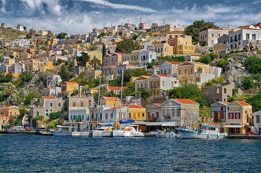 Symi, Greece, Houses, Buildings, Urban, City, Cities