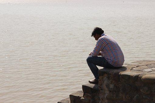 Sukhna Lake, Chandigarh, Water, Man, Male, Shore