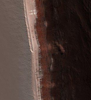Mars, Martian Surface, Avalanche, Dust Cloud