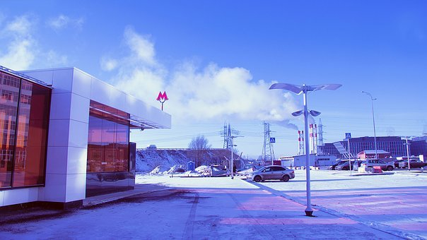 Metro, City, Rumyantsevo, Moscow, Russia, Megalopolis
