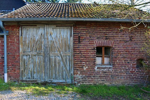 Tool Shed, Old, Wooden Gate, Brick Construction, Rural