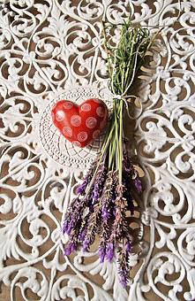 Heart, Red, Iron Lace, White, Lavender, Purple, Bunch