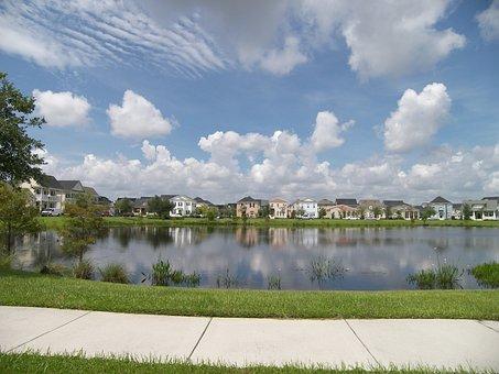 Neighborhood, Water, Homes, House, Residential, City