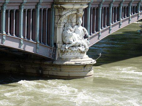 Lyon, Rhône, River, Old Town, City, Bridge, Sculpture