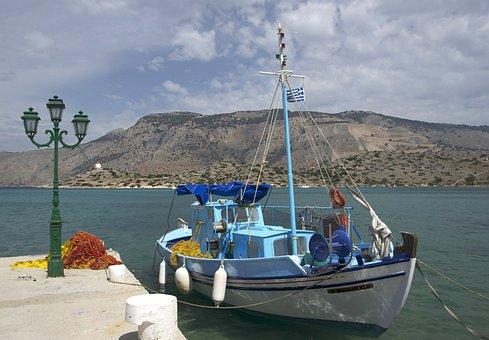 Symi, Greece, Mountains, Sky, Clouds, Boat, Ship