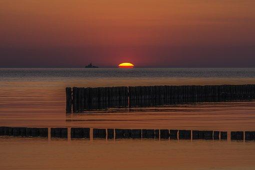 Sunset, Beach, Groynes, Rügen