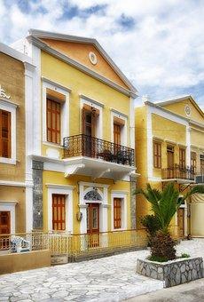 Symi, Greece, City, Cities, Urban, Houses, Homes