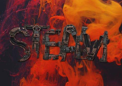 Steam, Steampunk, Background, 3d, Fire, Burning, Smoke