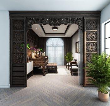 Altar, Room, Interior Design, Wooden Walls, Furniture