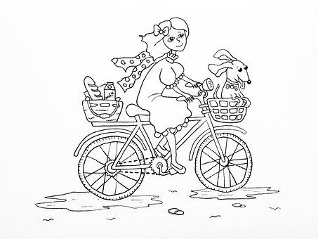 Baby, Childhood, Bike, Dog, Children's Illustration