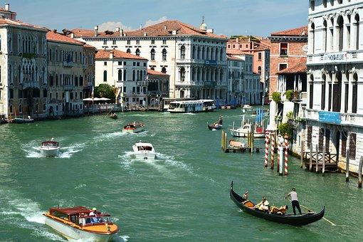 Grand Canal, Venice, Boats, City, Italy, Gondola