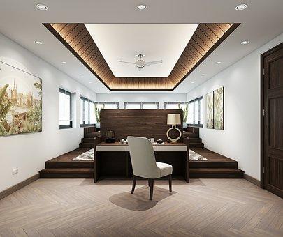 Bedroom, Desk, Interior Design, Chair, Furniture, Table