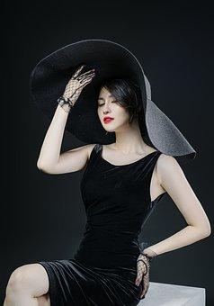 Woman, Model, Portrait, Black Dress, Black Hat, Pose