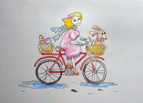 Bike Ride, Bike Girl, Girl, Bike, Dog, Skate, Purchase