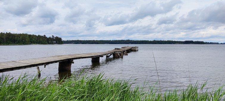 Pier, Shore, Sea, Grass, Jetty, Ocean, Bay, Water