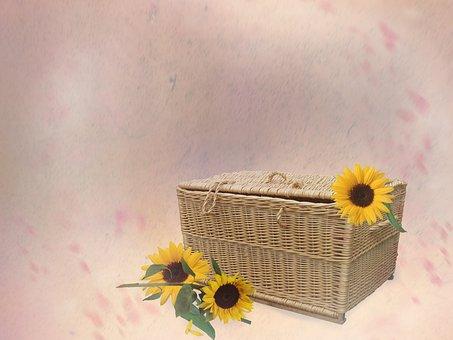 Wicker, Basket, Sunflowers, Background, Copy Space