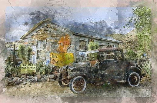 Building, Car, Vintage, Auto, Automobile, Store, Shop