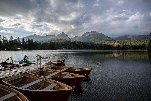 Lake, Dock, Boats, Mountains, Jetty, Nature, Scenery