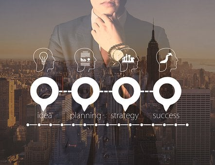 Businessman, Business, Skyline, City, Growth