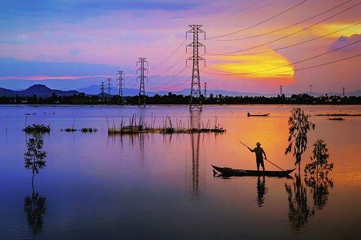 Lake, Sunset, Energy, Tower, Power, Reflection, Dusk
