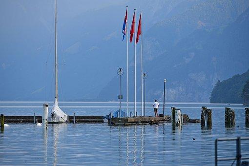 Brunnen, Switzerland, Lake, Lake Resort, Dock, Flags