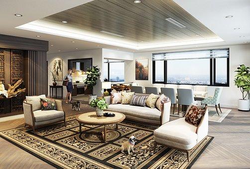 Living Room, Interior Design, 3d Rendering, Furniture