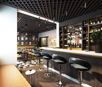 Restaurant, Bar, Interior Design, Wine Cabinet