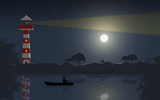 Fisherman, Ocean, Lighthouse, Sea, Lake, Night, Sky, 2d
