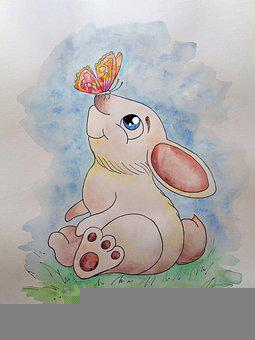 Rabbit, Story, Childhood, Watercolor, Picture