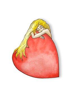 Love, Hug, Heart, Feelings, Isolated, Novel, Woman