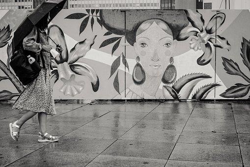 Woman, Walking, Umbrella, Street Art, City, Street