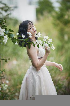 Woman, Portrait, Model, White Dress, Flowers, Outdoors