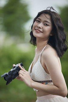 Woman, Portrait, Model, White Dress