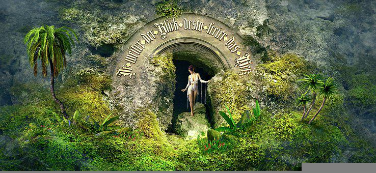 Fantasy, Cave, Woman, Nature, Plants, Landscape, Dream