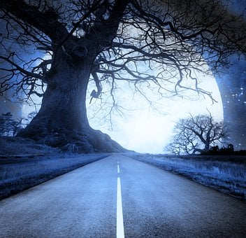 Road, Moon, Fantasy, Tree, Night, Full Moon, Glow