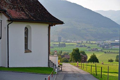 Schwyz, Town, Road, Building, Rural, Path, Fields