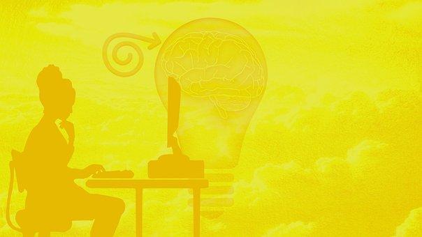 Woman, Computer, Yellow, Creative Writing