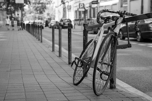 Bike, Bicycle, Street, City, Parked, Sidewalk